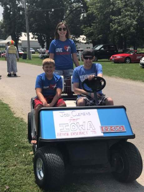Jodi's son Kalvin, daughter Lexi and husband Wes supporting her at the Muscatine County Fair parade in West Liberty, IA